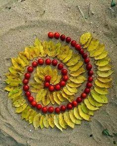 Fibonacci swirl with leaves and berries. Land Art, Diy Nature, Nature Crafts, Mandala Art, Art For Kids, Crafts For Kids, Ephemeral Art, Spiral Art, Environmental Art