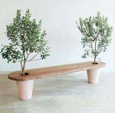 Garden bench with potted trees on either end. This would be easy to DIY Garden bench with potted tre Outdoor Projects, Garden Projects, Diy Projects, Sewing Projects, Planter Bench, Green Furniture, Modern Furniture, Furniture Plans, Kids Furniture