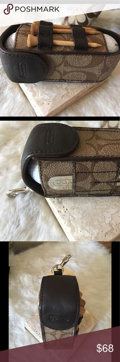 """COACH HERITAGE STRIPE GOLF BALL SET  F60459 Never used and in 'like new' condition. Signature leather,  Set of 3 golf balls, divot tool, ball marker, all marked with Coach logo. Dogleash clip attached. 1 1/2"""" (L) x 5"""" (H) x 2"""" (W) Coach Accessories"""