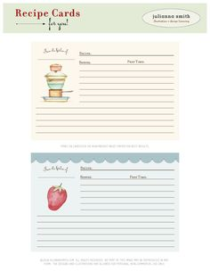 Recipe cards- print and attach to baking pan or dish. Good for housewarmings & bridal showers.