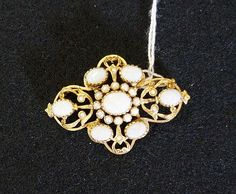 9ct gold 7 opal & seed pearl brooch
