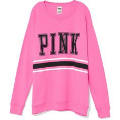 Victoria's Secret PINK Boyfriend Crew ($45) ❤ liked on Polyvore featuring tops, hoodies, sweatshirts, sweaters, pink, shirts, hot pink, crewneck sweatshirt, graphic shirts and graphic crewneck sweatshirts