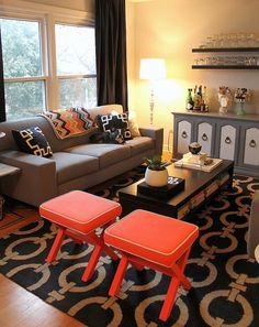 mint love social club: {coral, tan and black living room}