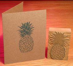 Pineapple linocut block print card by LinoGal on Etsy
