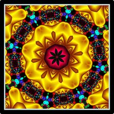 Neon Yellow Kaleidoscope by Ate My Crayons, via Flickr