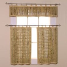 Shop for bamboo kitchen curtain at Bed Bath & Beyond. Buy top selling products like Easy Glide All-Natural Bamboo Ring Top Window Curtain Tier Pair and undefined. Bamboo Curtains, Tier Curtains, Cool Curtains, Hanging Curtains, Window Curtains, Small Apartments, Small Spaces, Cafe Window, Tropical Kitchen