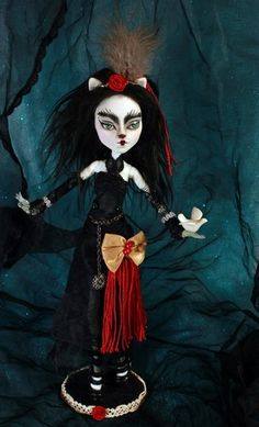 Meow Goth OOAK Monster High Catrine de Mew Goth Fantasy Kitty Cat Doll Repaint | eBay - bids starting at $59.95 or buy it now at $79.95 (includes doll, custom outfit, shoes, & accessories, decorated stand, certificate of authenticity & shown dove. #cat #kitty #kittycat #monsterhighdoll #monsterhigh #refabrications #ooak #ooakdoll #doll #artdoll #dollart #feline #goth #gothic #roses #dove #bow #greeneyes #unique #artsy #unusual #catty #custom #customdoll #refabrications…