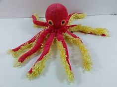 """Petting Zoo Octopus Squid Pink Yellow Sparkly Plush 11"""" Stuffed Toy 1994 B257"""