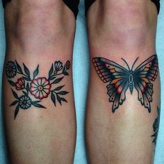 Butterfly and Flowers Tattoo on Knees