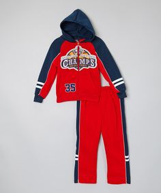Red 'Champs' Zip-Up Hoodie & Pants - Infant, Toddler & Boys by Allura Imports #zulily #zulilyfinds