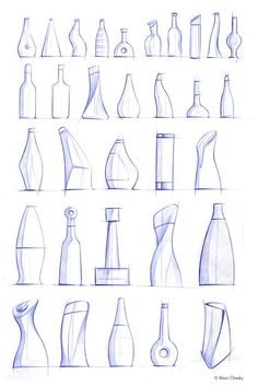 beautiful bottle sketches by   Jonathan Osborne Drawing Skills, Drawing Techniques, Drawing Sketches, Drawings, Croquis, Volume Art, Water Bottle Design, Art Plastique, Industrial Interiors