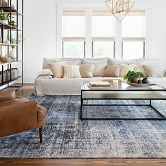Kennedy by Magnolia Home Denim / Denim Rug - Tapis Rugs In Living Room, Home And Living, Modern Living Room Furniture, Modern Living Room Design, Small Living, Magnolia Homes, Magnolias, Interior Design, Denim Rug