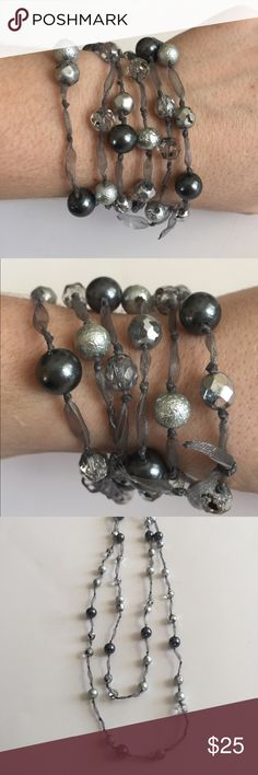 Gorgeous Gray & Silver Convertible In EUC!!  Gray, silver & mirrored beads knotted in place on a silver ribbon.  This can be worn as a bracelet (my fave way to wear!) or as a necklace at various lengths. Express Jewelry Necklaces