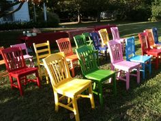 We played for a barn dance for the folks who painted these rainbow chairs. She found them at thrift shops. and her hubby painted them! Love this idea! Cheap Dining Room Chairs, Casual Dining Rooms, Wayfair Living Room Chairs, Cool Chairs, Outdoor Chairs, Outdoor Decor, Cheap Chairs, Upcycled Furniture, Unique Furniture