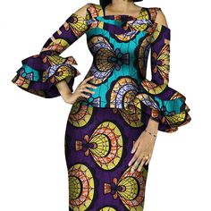 African Print Ruffles Sleeve Tops and Skirt Sets Knee-length clothing – DRESS THE LADIES Couples African Outfits, African Dresses For Women, African Attire, 2 Piece Skirt Set, Dress Outfits, Fashion Outfits, Africa Fashion, Ruffle Sleeve, Traditional Outfits