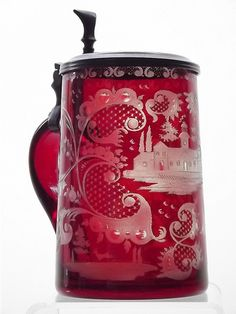 Antique ruby stained & engraved glass tankard