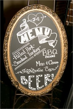 Chalkboard wedding menu on vintage gold frame