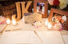 362 best wedding stuff images on pinterest wedding ideas wedding greeting table with wooden initials pictures flowers and guest book m4hsunfo