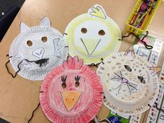 Masks from paper plates kids can create for their characters.