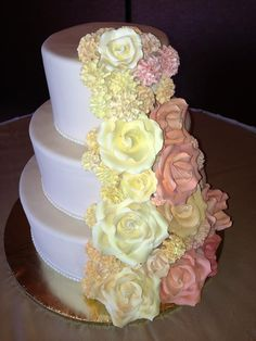 Absolutely gorgeous wedding cake created by Some Crust Bakery.