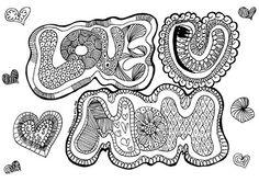 Disegno festa della mamma Love U Mom da colorare di FarfallaDorata