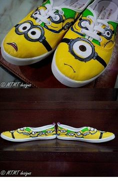 Hand painted minion shoes