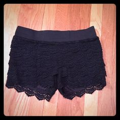 Super adorable  black lace shorts! NWOT. Perfect shape. I can't find the size on the tag...they fit like a small Wet Seal Shorts
