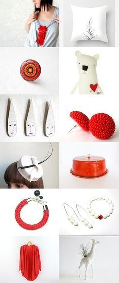 Red spots by Tanya Kravchenko on Etsy--Pinned with TreasuryPin.com Etsy Seller, Red, Board, Planks