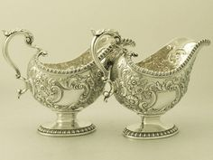 Pair of Sterling Silver Sauceboats - Regency Style - Antique George III Vintage Silver, Antique Silver, Antique Chest, Sterling Silverware, Antiques For Sale, Argent Sterling, Pearl Jewelry, Bronze, Utensils