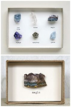 "How great are these Rock Collages by mixed media artist Cori Kindred on Etsy? Her shop is closed until 2013 but you could do something inspired by this with your favorite rocks that remind you of the qualities of someone you care about. Her website is www.corikindred.com. On my FB page I even suggested doing a ""speciman"" type of collection using a chewed pencil (writer's block?) and mundane items to capture someones personality. EDIT: her Etsy store is now open."