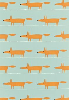 Mr Fox (120072) - Scion Fabrics - A light-hearted design with a friendly fox, low and long creating a horizontal stripe. Shown in the Sky, Tangerine and Chalk colourway. Please request sample for true colour match.
