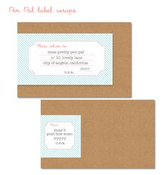 Free address to wrap around an TO on the front FROM at the back. Good idea for a custom folded envelope from Mailing Labels, Address Labels, Envelope Labels, Envelope Art, Cute Envelopes, Pretty Packaging, Printable Paper, Printable Labels, Brand Packaging