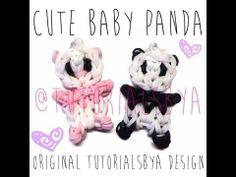 NEW Cute Baby Panda Rainbow Loom Charm/Figurine Tutorial Rainbow Loom Patterns, Rainbow Loom Creations, Rainbow Loom Bands, Rainbow Loom Charms, Rainbow Loom Bracelets, Rubber Band Charms, Rubber Band Bracelet, Rubber Bands, Loombands Tutorial