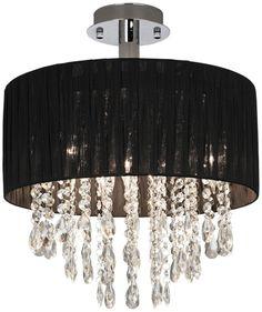 Possini Euro Black Fabric Drum and Crystal Ceiling Light - EuroStyleLighting.com