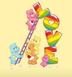 Care Bears: Wish Bear, Love-a-Lot Bear, Funshine, Tenderheart and Wonderheart Bear