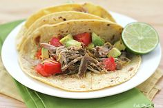 """Slow Cooker Chili Lime Pulled Pork Tacos- my husband found this recipe and it is delicious!!! Put on 5"""" round corn tortillas & serve with glass of wine on the side :)"""