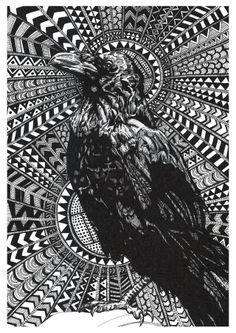 Raven zentangle