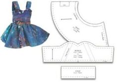 free doll dress pattern for american girl type dolls by Gina Reynecke
