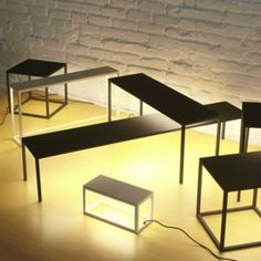 Antoni Arola BlancoWhite Lighted Tables. Beautiful multifunctional objects created by mounting ultra-thin LED panels under the tops.