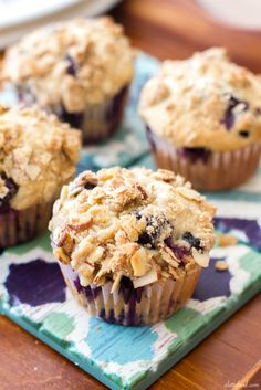 Blueberry Orange Crumb Muffins | These light, fluffy muffins are packed with sweet blueberry flavor complemented by the orange flavor.