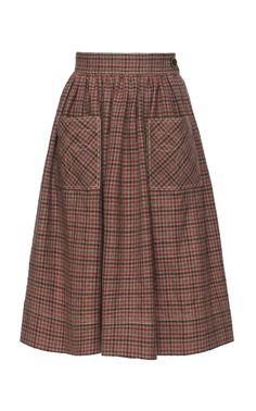 Western Checked Wool Skirt by Lena Hoschek Full Circle Skirts, Wool Skirts, Women Wear, Plaid, Collage, Lily, Characters, Clothes, Collection
