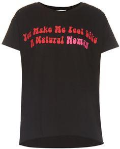 NATASHA ZINKO Slogan-print cotton-jersey T-shirt Slogan, Printed Cotton, Graphic Tees, Stylish, How To Make, Mens Tops, T Shirt, Women, Fashion