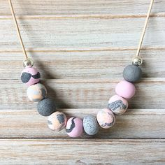 Pastel handmade necklace, polymer clay necklace, beaded necklace handmade by rubybluejewels