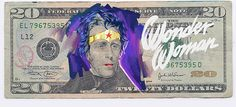 Justice League of America drawn on dollar bills