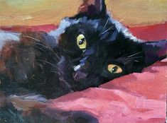 Daily Paintworks - - Original Fine Art for Sale - © Katya Minkina Black Cat Painting, Black Cat Art, Black Cats, Cat Drawing, Painting & Drawing, Watercolor Cat, Wildlife Art, Animal Paintings, Pet Portraits