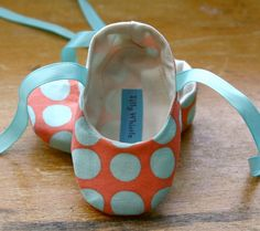 Coral and Blue Polka Dot Ballet Slipper Baby by TillyWhistle