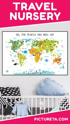 I love my son's new Travel Nursery with modern world map from Pictureta. , I love my son's new Travel Nursery with modern world map from Pictureta. It's super cute and looks amazing above his crib. Get yours at PICTURETA. Baby Nursery Neutral, Baby Nursery Themes, Nursery Crib, Baby Boy Nurseries, Nursery Ideas, Safari Nursery, Woodland Nursery, Room Ideas, Travel Theme Nursery