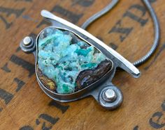 Chrysocolla Specimen Stone Sterling Silver Necklace by joykruse, $285.00