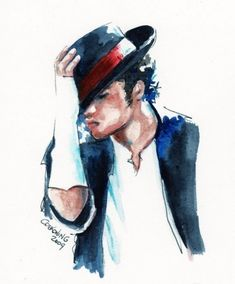 Michael Jackson watercolor portrait 8x10 giclee by christydekoning, $20.00
