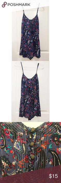 American Eagle Romper American Eagle spaghetti strap Romper with gold buttons at chest. Purple/blue with paisley patterned design. Size small. Worn and washed once. Fast shipping from smoke free home! American Eagle Outfitters Dresses